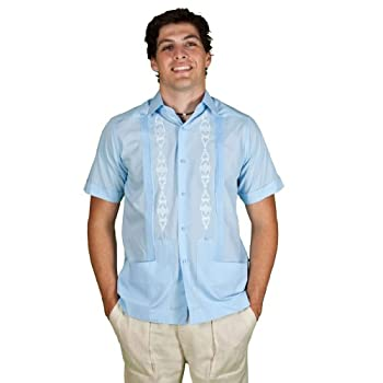 Men's Guayabera Front, size 4x & light blue.
