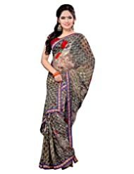 Alethia Beige Weight Less Casual Printed Sarees With Unstitched Blouse