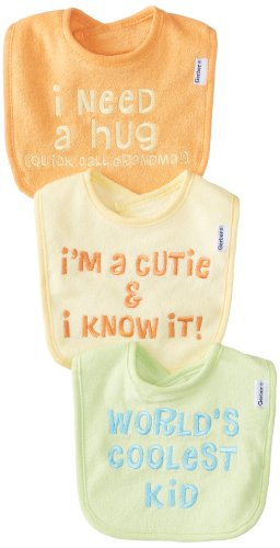Gerber Unisex-Baby 3 Pack Terry Bibs, Yellow, One Size