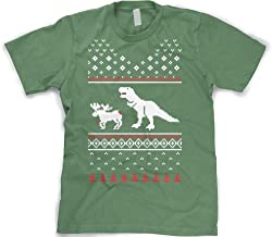 T-Rex Attack Ugly Sweater T Shirt funny Christmas shirt dino tee by Crazy Dog Tshirts