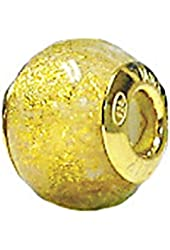 Zable Sterling Silver Yellow Color Plated Yellow and White Specks Glass Bead