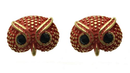 """Adorable Vintage Style Small 1/2"""" Coral Colored Gold Tone Owl Stud Earrings For Teens/Women"""