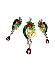 Poddar Jewels Cubic Zirconia Designer Green/Red Meena Pendant Set