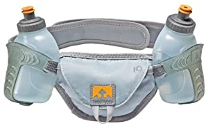 Nathan Speed 2 Waist Pack with Two 10-Ounce Nutrition Flasks (Grey, Small)