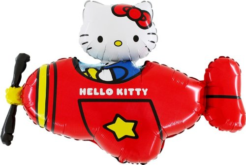 "37"" Hello Kitty In Red Helicopter Foil Balloon - Inflate With Air/Helium (CS82)"
