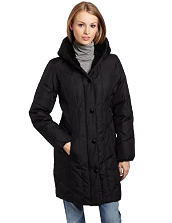 Larry Levine Women's 3/4 Length Water Resistant Hooded Down Jacket, Black, Large