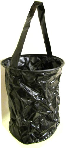 """Foldable Water Container Bucket (11""""X9"""") - 3.5 Gallons Pvc Container Bag Bucket Carrier (Black)"""