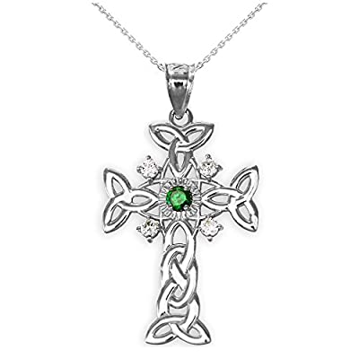 Silver Trinity Knot Diamond Celtic Cross Pendant Necklace with Genuine Emerald