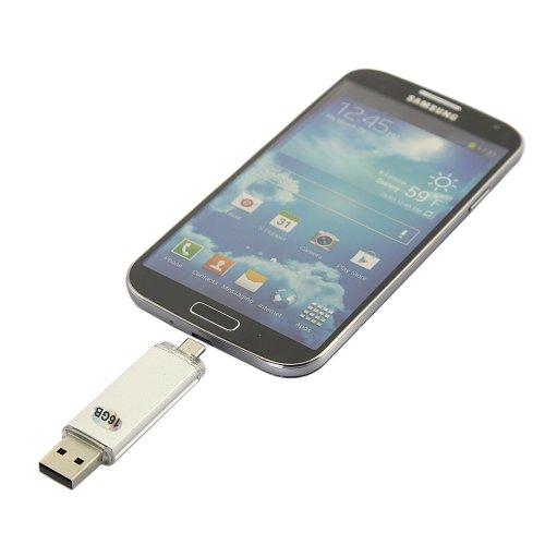 Dbpower(Us Seller) 16G(White) Dual Purpose Usb Flash Drive For Samsung Galaxy S4 / S3 / S2 / Galaxy Note / Note 2 / Galaxy Tab 3 / Lg Optimus G / L9 / Motorola Xoom / Razr / Blackberry Z10 / Q10 / Playbook / Htc One / X / Nokia Lumia 920 / Asus Google Nex