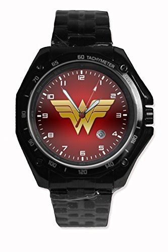 New Black Style Wonder Woman Design Snap On Custom Stainless-Steel Black Alloy Sport Wristwatch Fit Your T-Shir