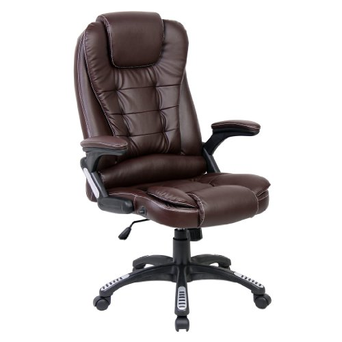rio brown luxury reclining executive high back office desk chair faux leather swivel. Black Bedroom Furniture Sets. Home Design Ideas