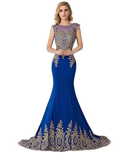 MisShow Women Embroidery Lace Long Royal Blue Mermaid Formal Evening Prom Dress