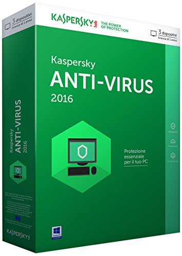 Kaspersky Lab Anti-Virus 2016, Full, 3u, 1y, IT - Seguridad y antivirus (Full, 3u, 1y, IT, Windows 10 Education, Windows 10 Education x64, Windows 10 Enterprise, Windows 10 Enterprise x64, Wi, ITA, Caja, PC, Full license, CD-ROM/DVD-ROM Microsoft Internet Explorer 8 Microsoft Windows 3.0 Microsoft .NET Framework 4)