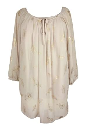 Women's Beige Gold Feather Print Blouse Top Plus size 16, 18, 20, 22 / 24, 26 / 28