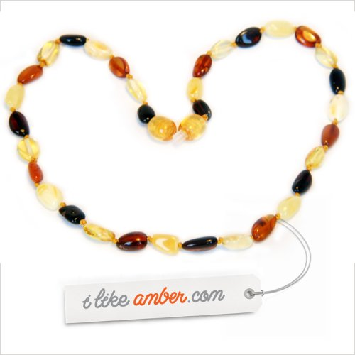33cm Genuine Baltic Amber Necklace - Child Baby size Multicolor Bean shape Beads - Soothes and Calms Naturally Teething pain