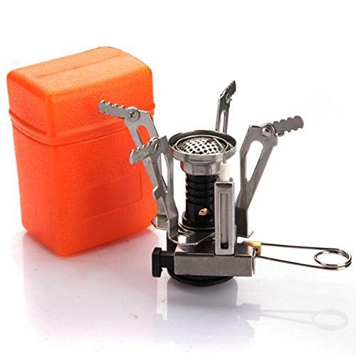 ポータブルなアウトドアピクニック用  ガスバーナー 折り畳める ミニ ガス バーナー キャンプ用のスチールストーブ  コンパクト   オレンジ色