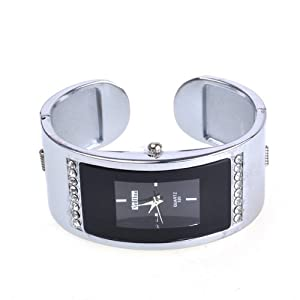 BestDealUSA Black Alloy Stylish Elegant White Tone Shell Dial Wrist Watch For Women