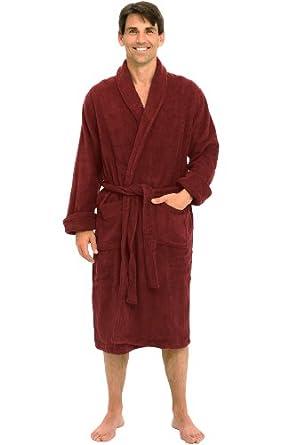 Del Rossa Men's Thick Terry Cloth Cotton Bathrobe, 1XL 2XL Burgundy (A0106WNE2X)