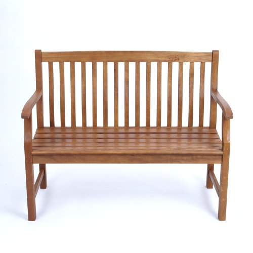 Trueshopping 'Gosforth' Stylish Garden Bench - Two Seat Balau Hardwood Bench 1145mm Length x 570mm Depth x 900mm Height
