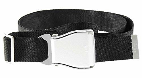 """Cintura per pantaloni modello cintura di sicurezza aereo di linea """"seat belt"""" (NERO)"""