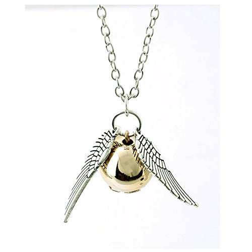 Harry Potter Golden Snitch the Deathly Hallows Wing Charm Gold Ball Pendant Chain Necklace 50CM (Harry Potter Snitch)