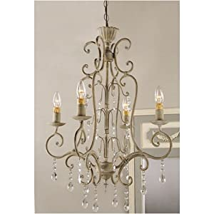"Shabby Vintage Metal Crystal CHANDELIER electric antique FRENCH COUNTRY Chic 42"" NEW"