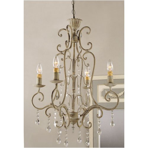 "Shabby Vintage Metal Crystal CHANDELIER electric antique white FRENCH COUNTRY Chic 42"" NEW"
