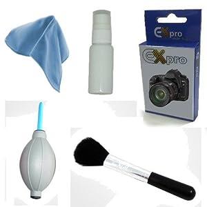 Ex-Pro Professional Lens & Camera Cleaning Kit, including Fluid, Microfibre Cloth, Blower & Lens/Display Brush for lens & Filters, Nikon, Canon, Fuji, Panasonic, Sigma, Tamron, Tokina, Leica etc