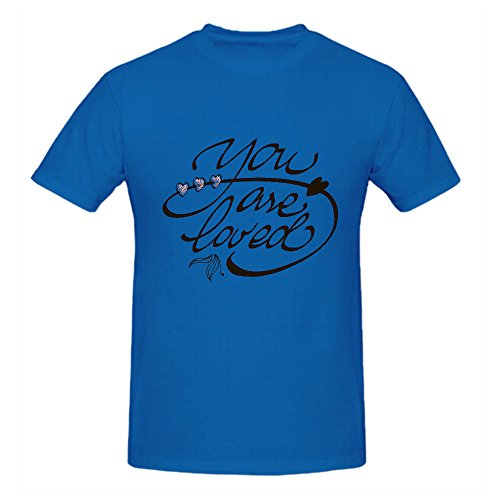 You Are Loved Lettering Sport T Shirt For Men Crew Neck Blue Customized