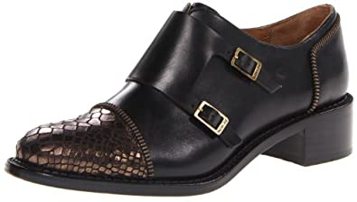 Rachel Zoe Women's Graham Monk Strap Flat,Black/Bronze,6 M US