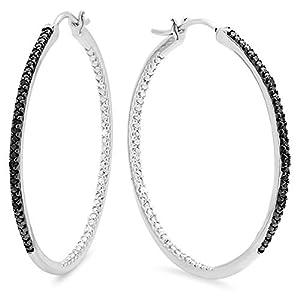 0.10 Carat (ctw) Sterling Silver Round Black Diamond Ladies Fine Hoop Earrings 1/10 CT