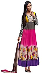 Bipson Womens Georgette Anarkali Dress Material (Floral-3025 -Multi-Coloured -17-18 Years)