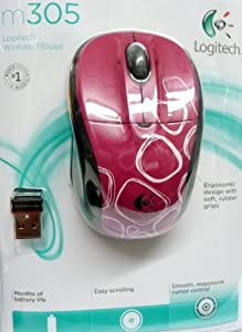 Logitech m305 Wireless Mouse (Pink & White Circles Design) with Nano Receiver from Logitech