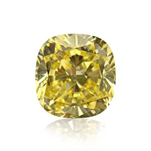 Yellow Loose Diamond Cushion Cut Natural Fancy Color GIA Certificate 1.02Ct VS1