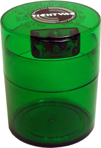 Tightvac 3-Ounce Vacuum Sealed Dry Goods Storage Container, Emerald Tinted Body/Cap