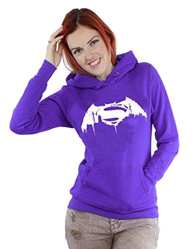 DC Comics Donna Batman v Superman Beaten Logo Felpa con cappuccio Large Viola