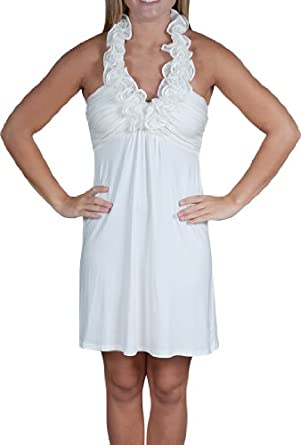 Alki'i Ruffled HalterCasual Evening Party Cocktail Dress - OffWhite L