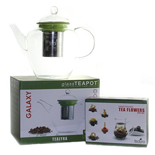 Galaxy 42 Oz Blooming Glass Teapot W/ Loose Tea Infuser + 10 Flowering Teas Gift Box (Lime)