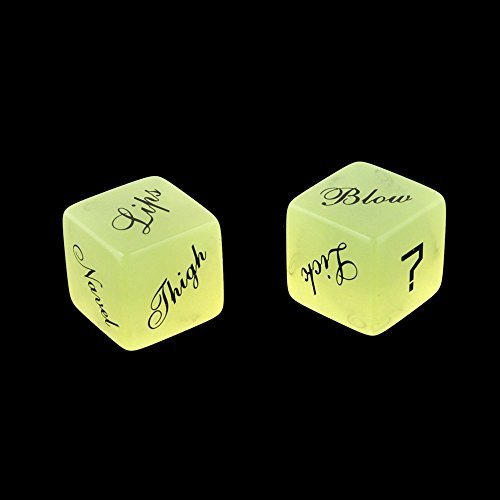 SmartDealsPro SET OF 2 LOVE DICE GAME GLOW IN THE DARK SAUCY ADULT ROMANTIC SEX AID (Style 1) - 1