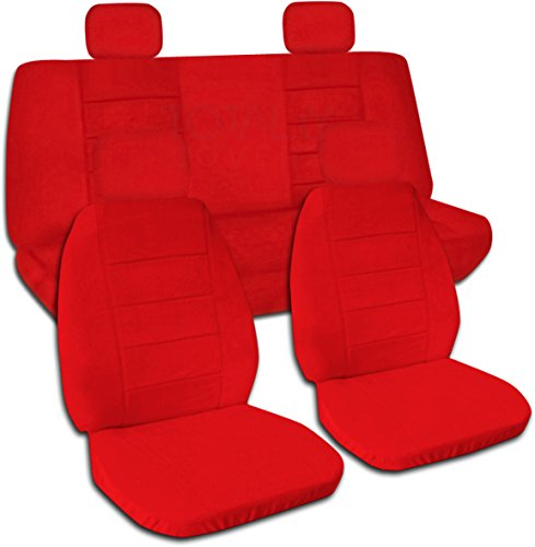 Solid Color Car Seat Covers w 4 (2 Front + 2 Rear) Headrest Covers: Red - Semi-custom Fit - Full Set (22 Colors) (Solid Red Seat Covers compare prices)