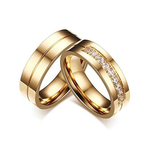Bishilin 18K Placcato Oro Anello Fidanzamento Coppia per Lui e Lei Con Cubic Zirconia Inlaid 2Pcs Set Donna Dimensioni 20 & Uomo Dimensioni 27