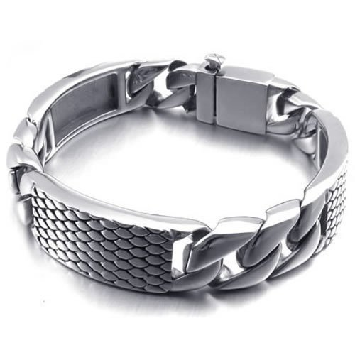 Konov Jewellery Heavy Large Polished Stainless Steel Biker Mens Bracelet Bangle, Colour Silver Black (with Gift Bag)