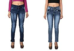 WineGlass Combo of 2 Ankle Fit Womens Stretch Denim Jeans 734ST735ST