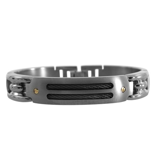 Edward Mirell Men's Grey Titanium Bracelet with Black Memory Cable and 18k Yellow Screws, 8.5″