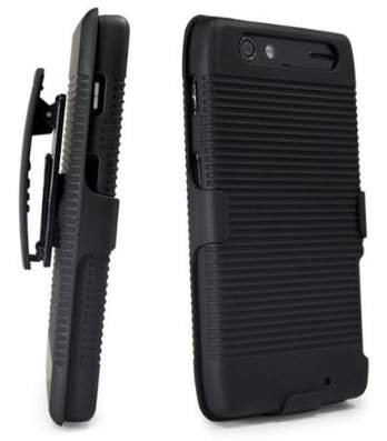 Encased Holster Shell Combo w/ Kickstand for Razr Maxx - Side