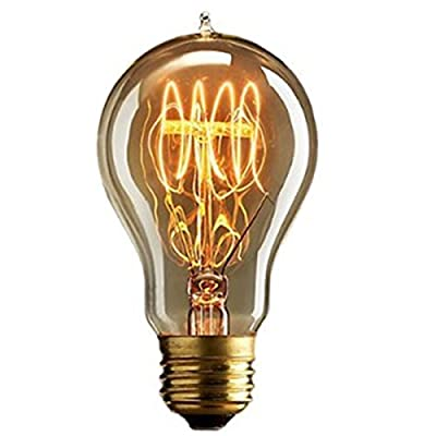KINGSO Vintage E27 Edison Screw Bulb 40w Dimmable A19 Antique Filament Tungsten Loop Style 23 Anchors Incandescent Bulbs for Home Light Lamp Fixtures Nostalgic Decorative Glass 220V
