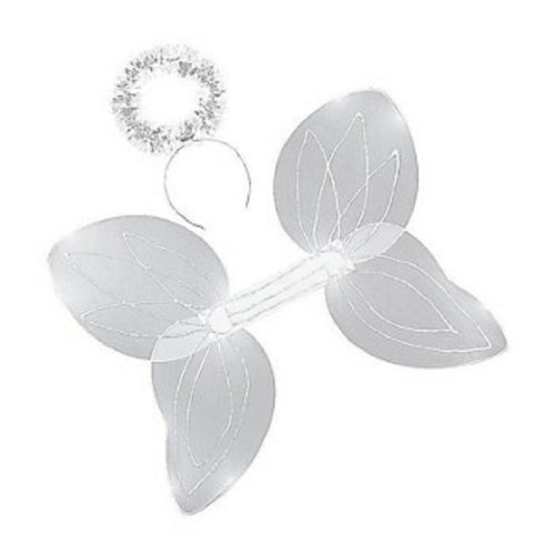 Nylon White Angel Wings And Halo Headband