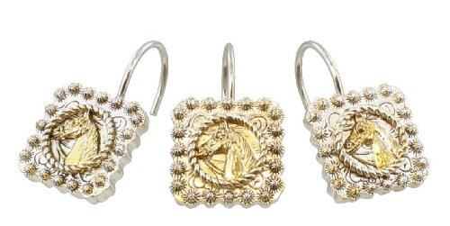 decorative horse head shower curtain hooks rings 12 pcs gold silver western concho