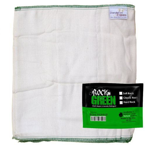 Dandelion Diapers Organic Cotton Blend Prefolds 3 Pack With Bonus Rockin Green Detergent Sample - Size 3 front-6482