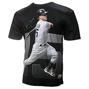 MLB Men's Boston Red Sox Dustin Perdroia Sublimated High Definition Photo Tee Shirt (Graphite) (Red Sox, Small)